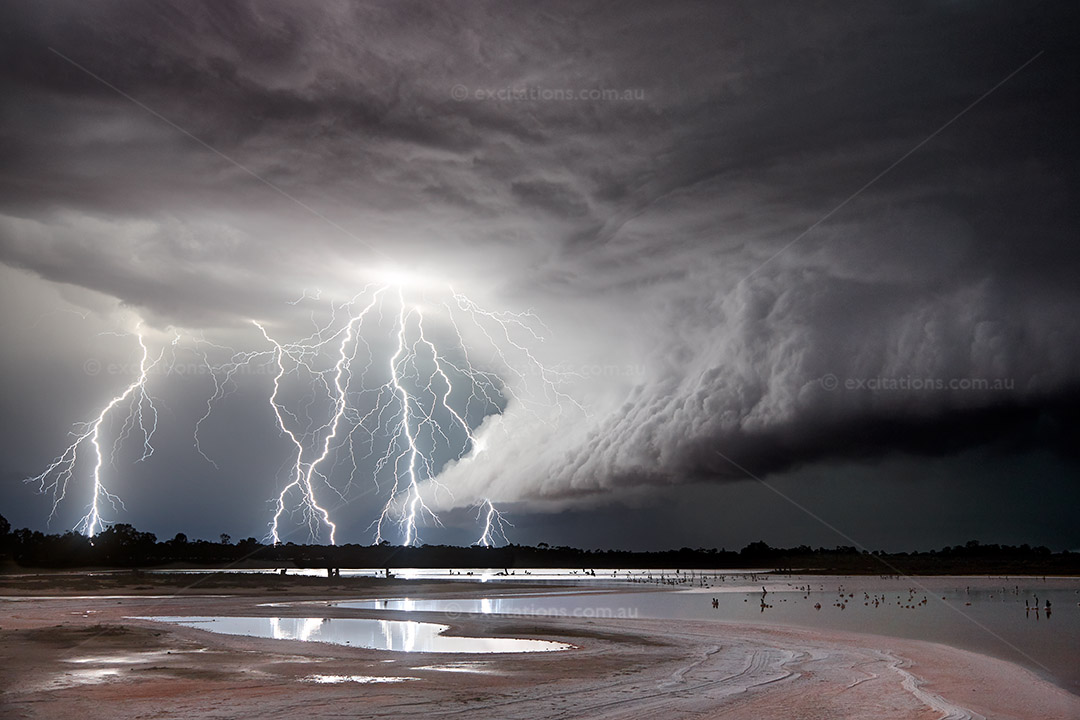 Dramatic electrical storm ove salt lake, Victoria, Australia. Image by Excitations Stock