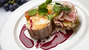 Picture Murray Cod on plate with grape sauce. Stock photos videos Australia